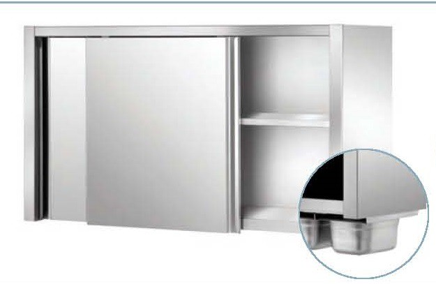 Armoire suspendue inox ferritique 1800 x 400 x 660 stl for Materiel armoire cuisine