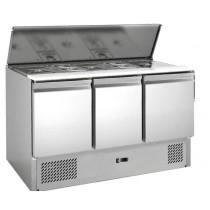 Saladettes réfrigérées, 3 portes, inox 1365 X 700 X 850 mm
