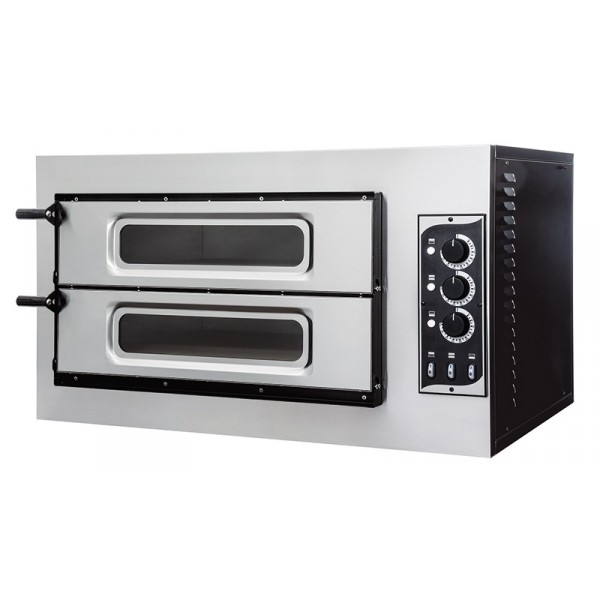 Four à pizza, éléctrique mécanique, acier inox, Basic 2/50 GLASS - 3 thermostats