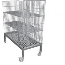 CHARIOT BARQUETTES avec 3 paniers, inox aisi 304 ,1250 X 580 X 1400 mm