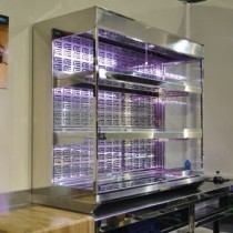 Niche refrigerée sur mesure, sans groupe, 2 etages, L 1500 x P (400 à 700) x H 1270 mm