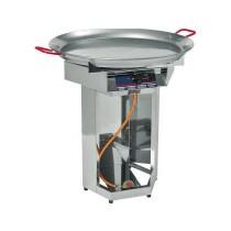Grill à gaz professionnel pour paella, acier chromé, gaz Propane / Butane, MBAR: 50, L 600 x P 600 x H 870 mm