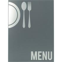 Protège menu Moderne A4 gris 4 vues, polypropylène, 325 x 240 mm