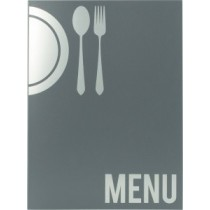 Protège menu Moderne A4 gris 6 vues, polypropylène, 325 x 240 mm