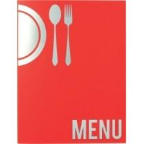 Protège menu Moderne A4 rouge 4 vues, polypropylène, 325 x 240 mm