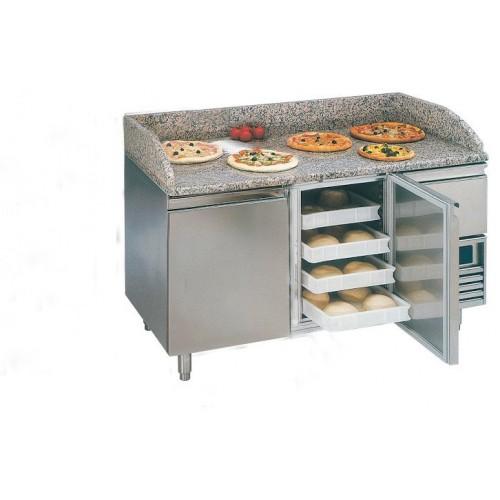 Desserte pizza, table pizza 2P + 1 TN, table sans tiroir spécial pate à pizza