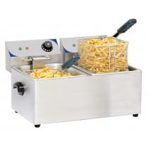 Friteuse boulanger électrique 2 x 4 litres, acier inoxydable, L 435 x P 400 x H 315 mm