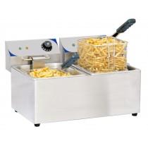 Friteuse boulanger électrique 2 x 8 litres, acier inoxydable, L 550 x P 430 x H 340 mm