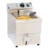 Friteuse boulanger électrique avec vanne de vidange 8 litres, acier inoxydable, L 290 x P 550 x H 410 mm