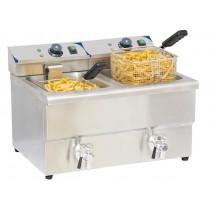 Friteuse électrique 2 x 8 litres avec vanne de vidange , acier inoxydable, L 550 x P 430 x H 410 mm