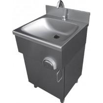 Lave main cuisine professionnelle, inox AISI 304 sur placard porte battante , L 500 x P 500 x H 850 mm