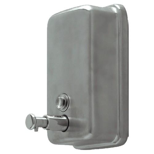 Distributeur de savon ou gel hydroalcoolique professionnel, inox brossé, manuel