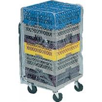 Housse de protection vinyle transparente pour chariot porte-casier, hauteur 910 mm
