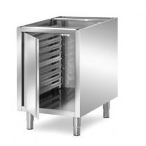 Meuble de rangement cuisine central, inox AISI 304, avec porte 7 niveaux, longueur 500 mm