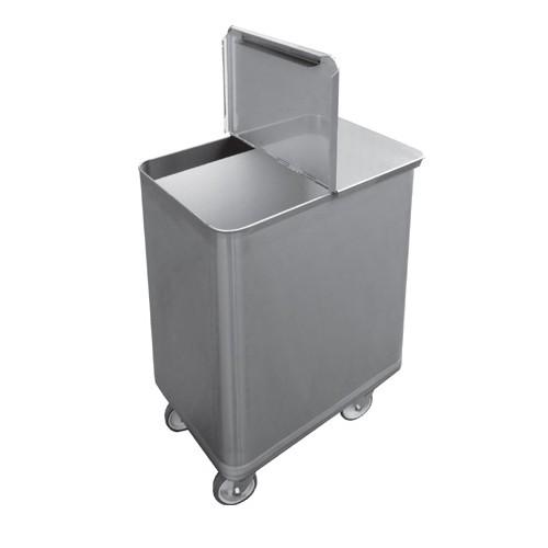 Bac roulant sel/farine, 130 L, inox AISI 304, profondeur 383 mm