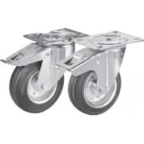 Roulettes ø 125 mm chape inox (2 avec freins, 2 sans frein) pour meubles de rangement en inox