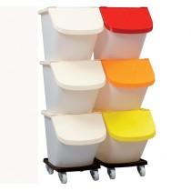 Trio conteneurs , 3 bacs 460 x 610 x 1480 mm + 3 couvercles ivoire + chariot de transport