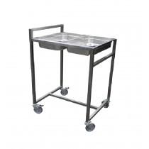 Chariot cuvier gastronome, inox, L 630 x P 740 x H 1010 mm
