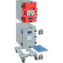 Coffre isotherme avec porte chauffante analogique type AF12, 2 conteneurs AF12 et 1 chariot , L 505 x P 685 x H 1480 mm