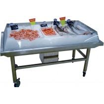 Vitrine pour poisson roulant, inox AISI 304, avec bac de récupération des eaux de fonte, L 1500 mm x P 800 mm