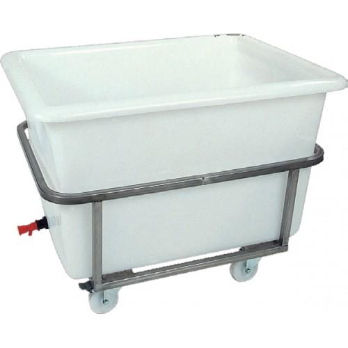 Bac à glace sur châssis inox roulant, polyéthylène, 500 L, L 1200 x P 800 x H 850 mm