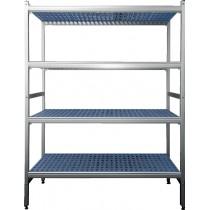 Rayonnage aluminium anodisé, clayette polypropylène, 5 niveaux, P : 365 mm