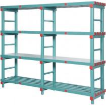 Rayonnage plastique charge lourde, 4 niveaux, profondeur 600 mm