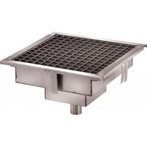 Caniveau de sol cuisine professionnelle, Sortie Verticale, Dimensions grille L 400 x P 400 x H 15 mm