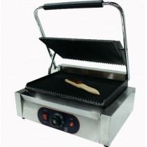 Panini grill, Dessus rainuré et dessous lisse, inox, L 430 x  P 370 x H 210 mm
