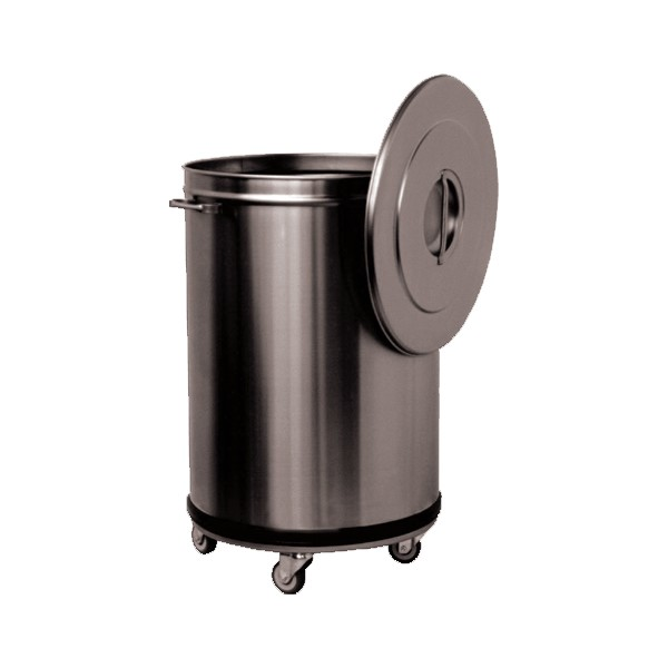 Bac d chets roulant inox 90 litre professionnelle for Equipement cuisine inox