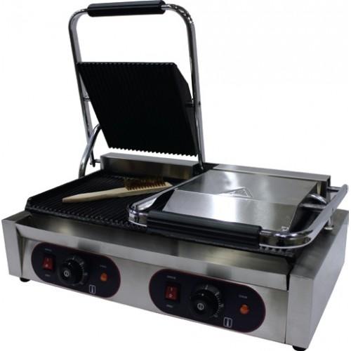 Panini grill double, dessus et dessous rainurés, 3,6 KW, inox