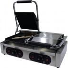 Panini grill double, dessus et dessous rainurés, inox, L 570 x P 370 x H 210 mm