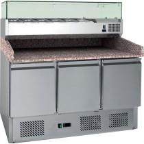 Table à pizzas, avec vitrine réfrigérée, 4GN1/3+1GN1/2, inox, L 1400 x P 700 x H 1020/1455 mm
