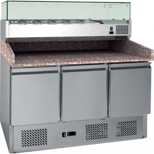 Table à pizzas, avec vitrine réfrigérée, 4GN1/3+1GN1/2, inox