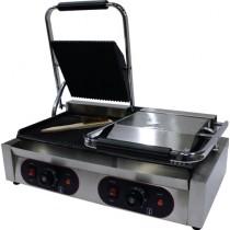 Panini grill double, partie droite lisse et partie gauche rainurée dessus et dessous, inox L 570 x P 370 x H 210 mm