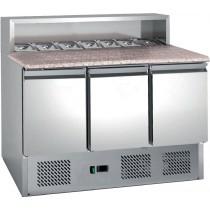 Table à pizza , avec insert pour bacs gastronormes, 8 GN1/6, 3 portes, inox, L 1365 x P 700 x H 1075 mm