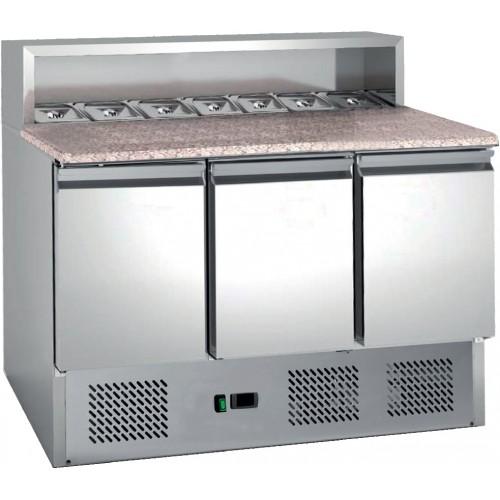 Table à pizza , avec insert pour bacs gastronormes, 8 GN1/6, 3 portes, inox