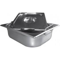 Bacs inox cuisine gastronome plein inox AISI 304 avec anses escamotables, type GN2/1, P 65 mm