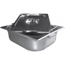 Bacs inox cuisine gastronome plein inox AISI 304 avec anses escamotables, type GN2/3, P 65 mm