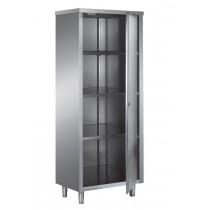 Armoire haute en inox ferritique, toit plat, portes battantes, 1 porte, L 500 x P 600 x H 2000 mm