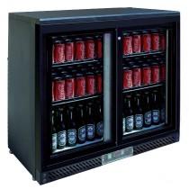 Desserte réfrigérée arrière de bar, 2 portes coulissantes vitrées, Skin plate noir, L 900 x P 520 x H 900 mm