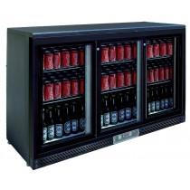 Desserte réfrigérée arrière de bar, 3 portes coulissantes vitrées, Skin plate noir, L 1350 x P 520 x H 900 mm