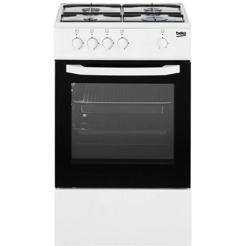 Cuisinière à gaz BEKO, couleur blanc, 4 foyers, 56 litres
