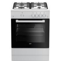 Cuisinière à gaz BEKO, couleur blanc, volume 66 L, L 600 x P 600 x H 850 mm
