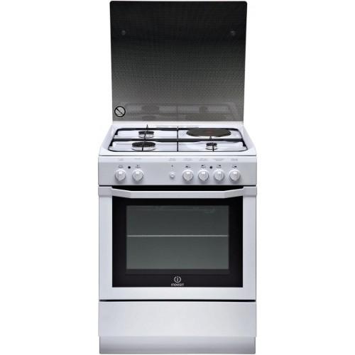 Cuisinière mixte INDESIT, couleur blanc, 4 foyers, 63 litres