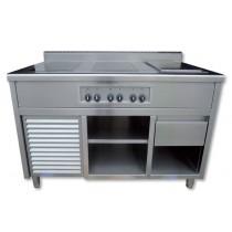 Piano induction sur mesure 32 KW, plancha 2 zones, gamme modulaire, modèle premium, L 1600 x P 900 x H 900 mm