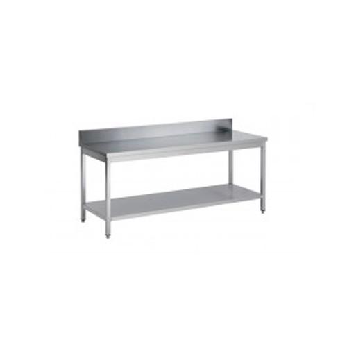 Table démontable bord droit pieds carrés, inox AISI 304, adossée + étagère, P 600 mm