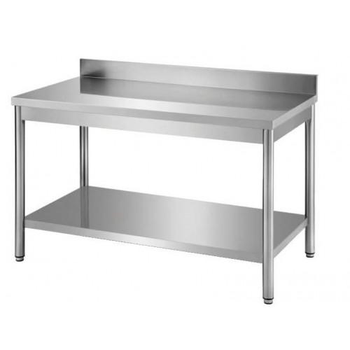 Table démontable bords droits pieds ronds, inox ferritique, adossée+étagère, P 600 mm