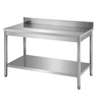 Table démontable pieds ronds, adossée + étagère, inox ferritique, profondeur 700 mm