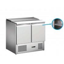 Saladette réfrigérée, avec couvercle telescopique, 2 GN1/1 + 2 GN1/4, 2 portes, inox, L 900 x P 700 x H 850 mm